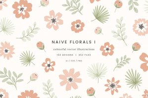 Naive Florals Vector Illustrations