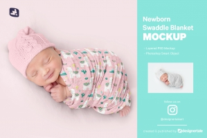Newborn Swaddle Blanket Mockup