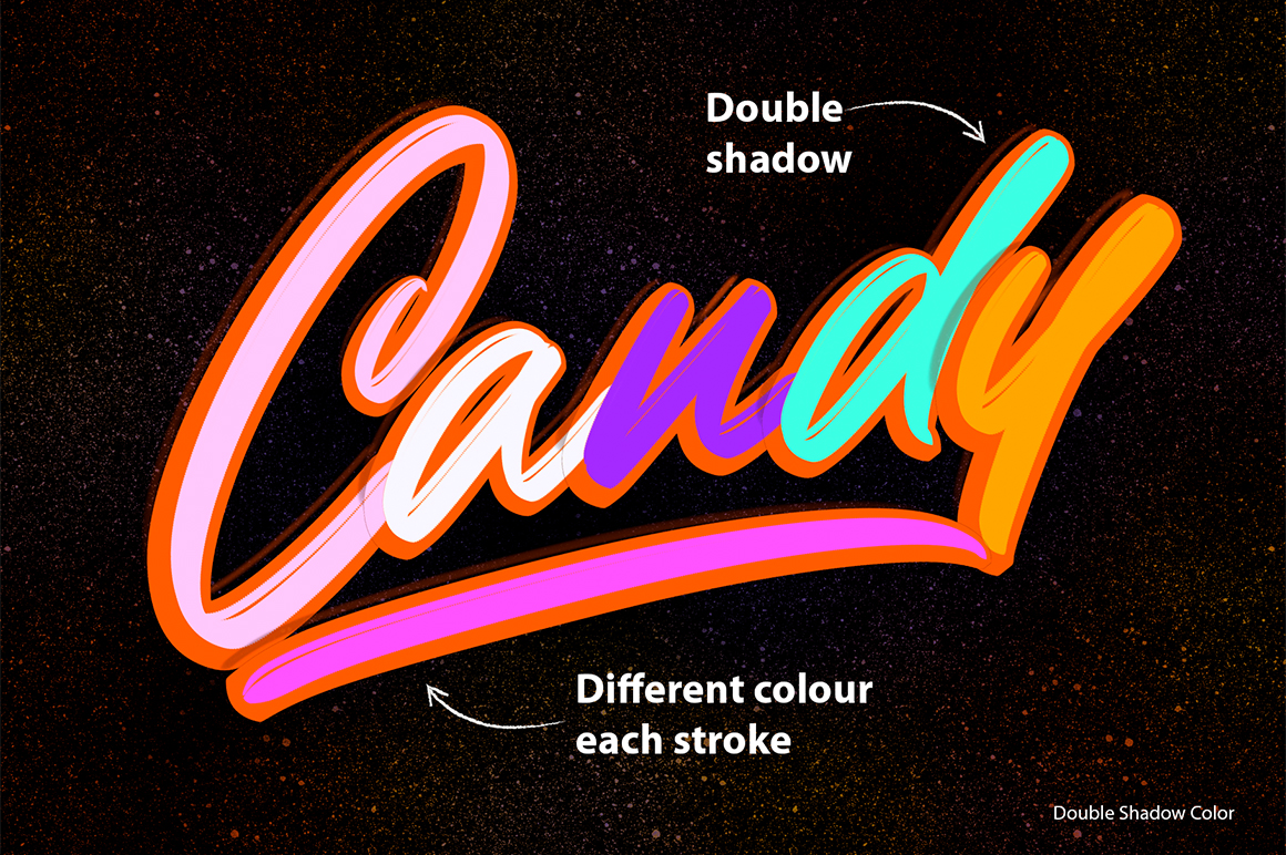 Outline Shadow Lettering Brushes