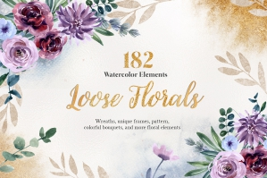 Pale & Mauve Loose Florals Watercolor Set