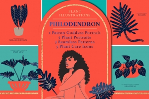 Philodendron Plant Illustration Pack