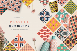 Playful Geometry Seamless Patterns