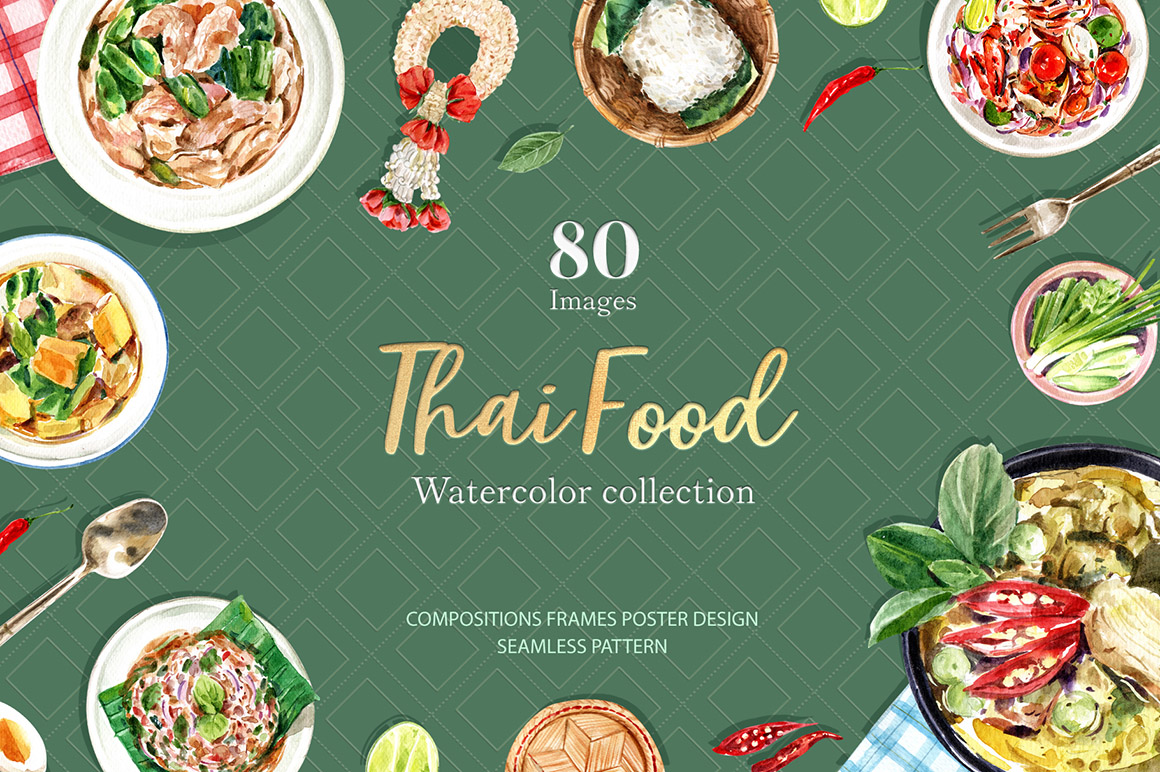 Thai Food Dishes Watercolor