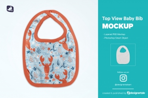 Top View Baby Bib Mockup