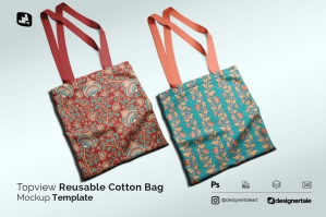 Topview Reusable Cotton Bag Mockup