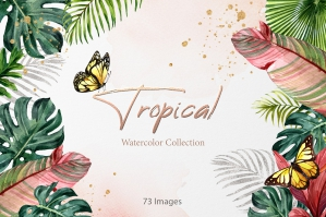 Tropical Jungle Elegance Gold Watercolor