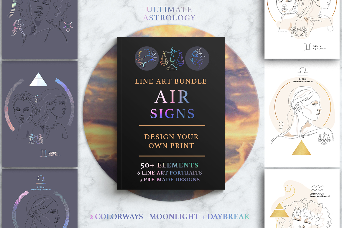 Ultimate Astrology Air Signs Illustration Bundle