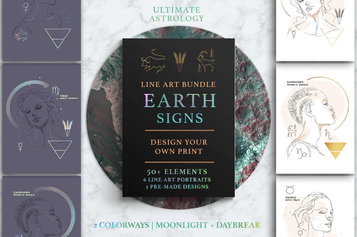 Ultimate Astrology Earth Signs Illustration Bundle