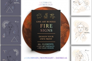 Ultimate Astrology Fire Signs Illustration Bundle