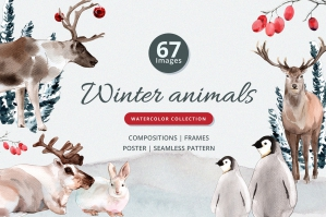 Winter Animals Watercolor