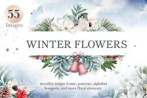 Winter Flowers Watercolor