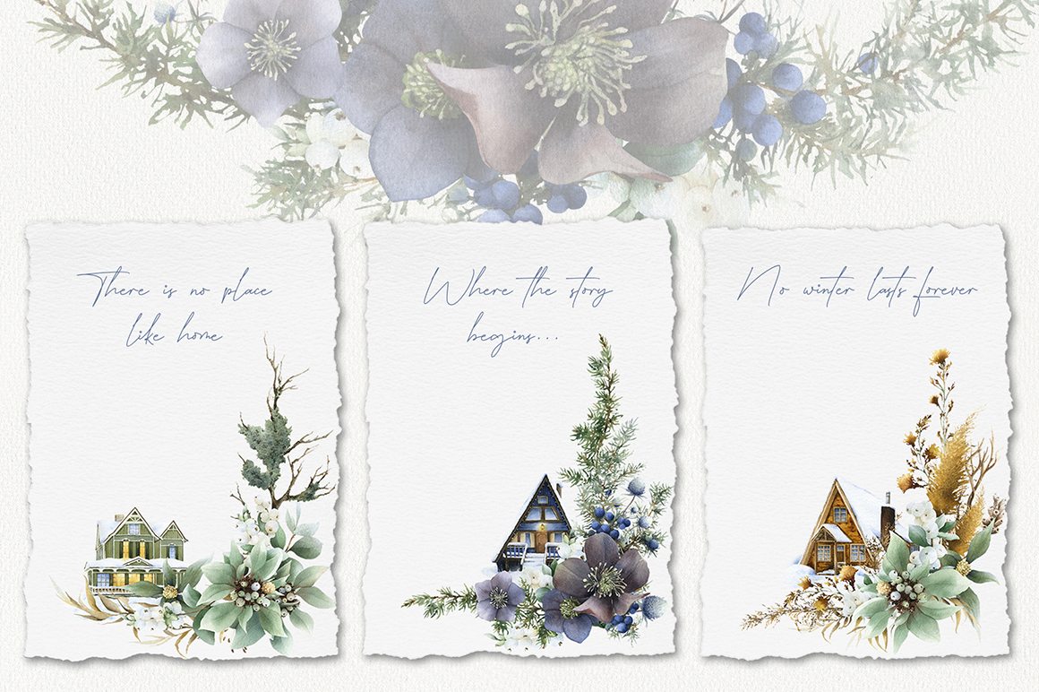 Winter Houses Watercolor Collection