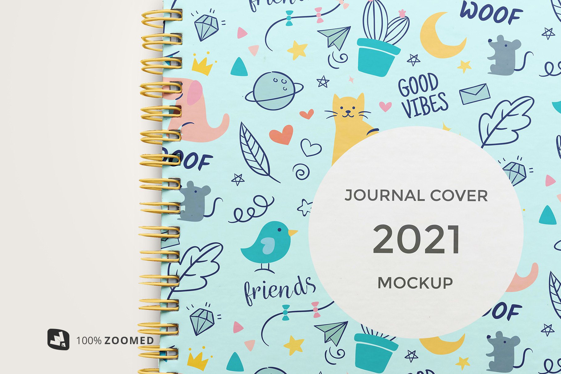 Top View Spiral Journal Cover Mockup