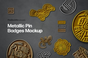 Metallic Pin Badges Mockup