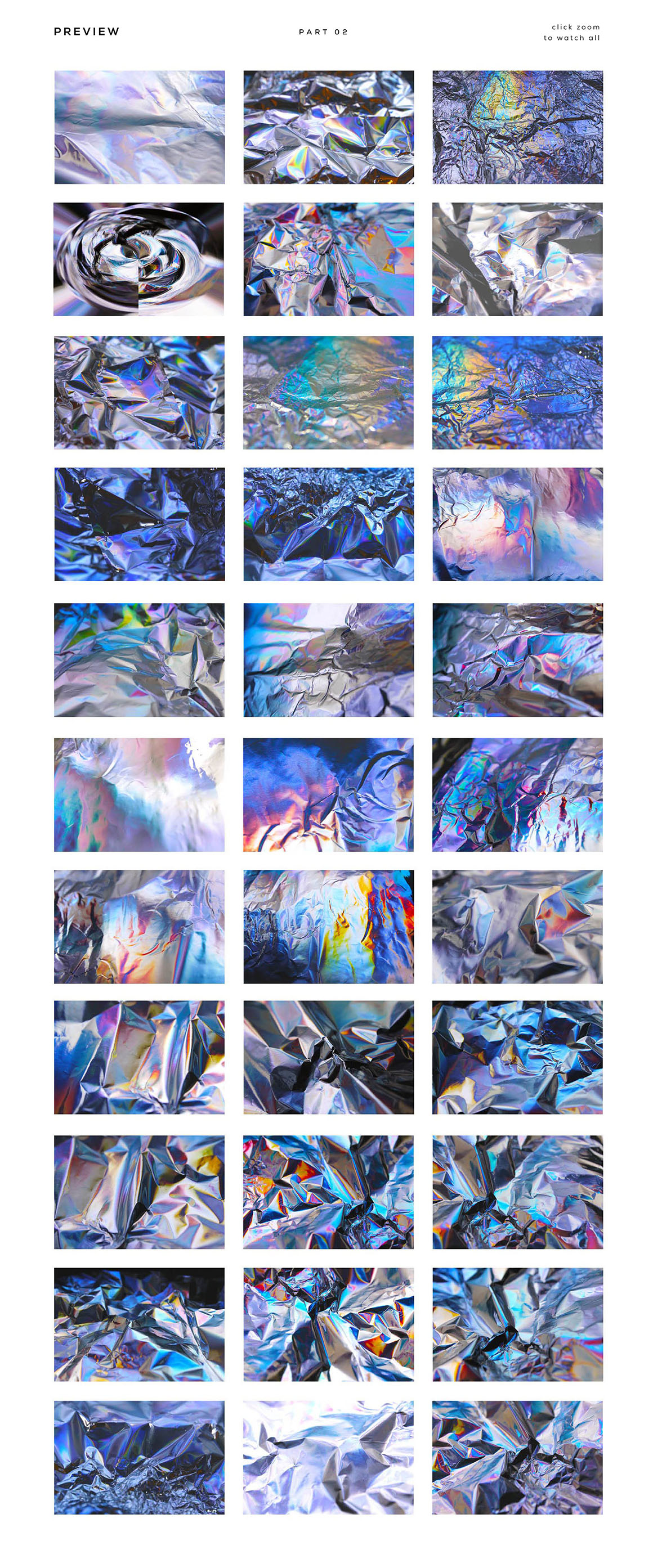 90 Holographic Crumpled Foil Textures