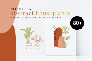 Abstract Houseplants Line Art & Abstract Shapes
