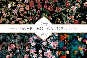 Dark Botanical Set of Design with Exquisite Motif