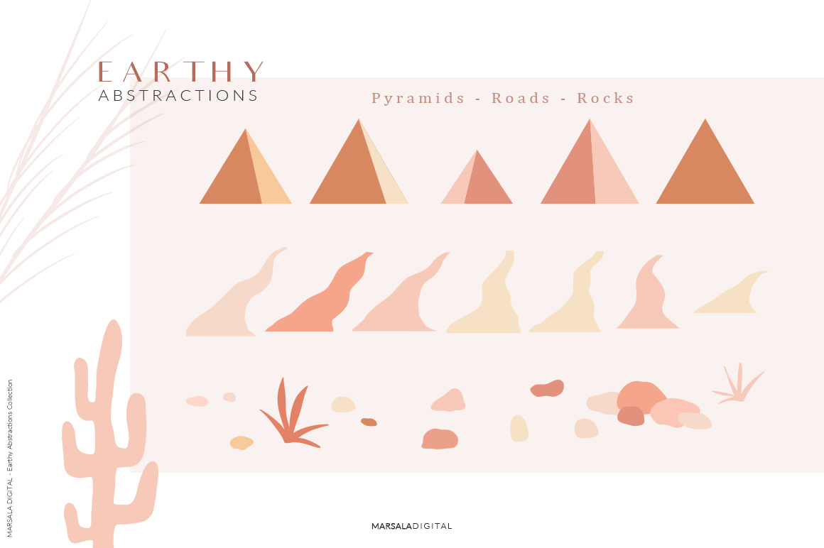 Earthy Abstractions & Prints Peachy Abstract Set