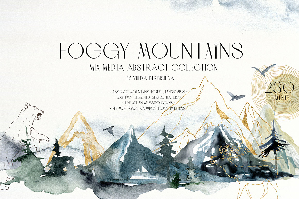 Foggy Mountains - Watercolor Abstract Collection
