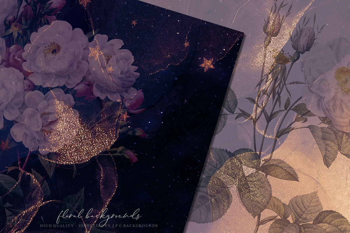 Gold Ink & Flowers Patterns