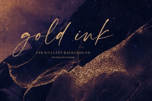 Gold Ink & Galaxy Backgrounds