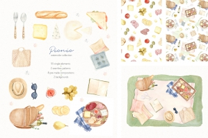 Picnic Time - Watercolor Illustrations Set