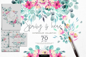 Spring is Here - Watercolor Floral Collection