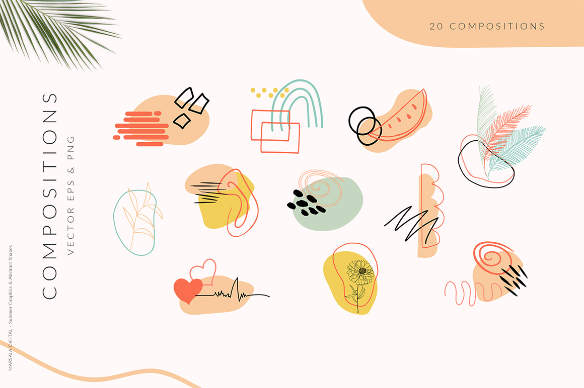 Summer Line Art and Abstract Shapes Collection