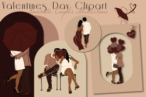 Valentines Day Clipart - Romantic Couples