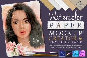 Watercolor Paper Mockup Creator & Texture Pack