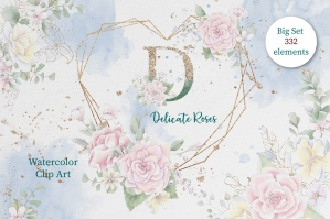 Watercolor Flowers Roses Clipart Set