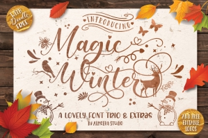 Magic Winter Font Trio & Extras