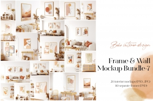 Frame Wall Mockup Bundle 7