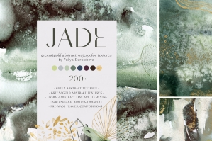 Jade Green & Gold Abstract Watercolor Textures
