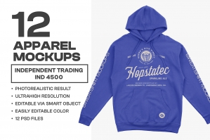 ITC IND4500 Hooded Pullover Mockups