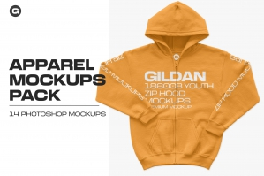Gildan 18600B Youth Zip Hood Mockups