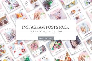 Instagram Watercolor Posts Pack