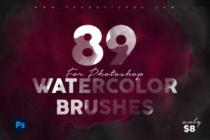 89 Realistic Watercolor Brushes for Photoshop
