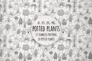 Potted Plants, Black and White Set