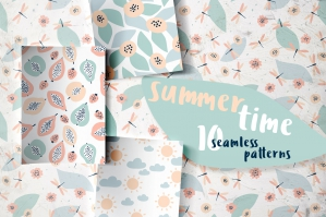Summertime, 10 Seamless Patterns