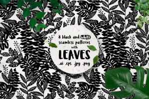 Leaves, 8 Black and White Patterns
