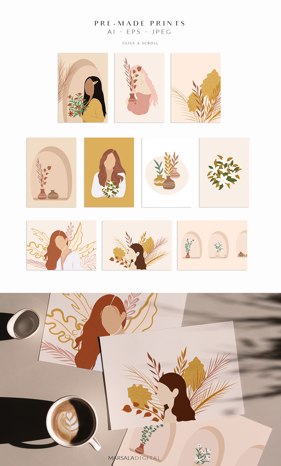 Abstract Women Illustrations Collection V2
