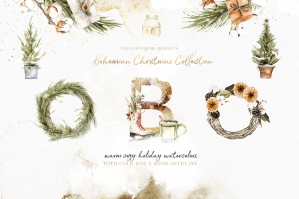 Bohemian Christmas Digital Watercolor Clipart Set