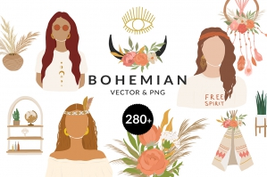 Bohemian Women Illustrations Collection