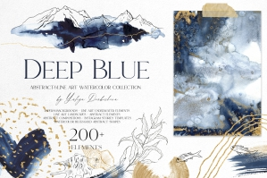 Deep Blue. Abstract Watercolor Set