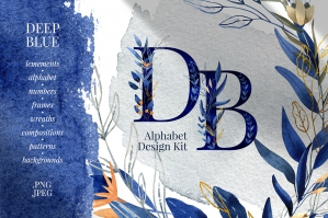 Deep Blue Alphabet Watercolor Set