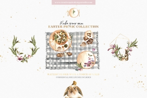Easter Picnic Digital Watercolor Clipart Set