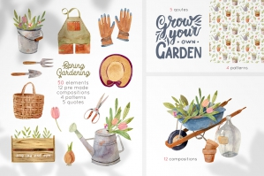 Gardening Tools Watercolor Clipart