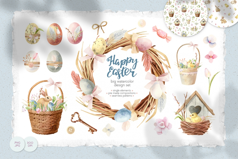Happy Easter Watercolor Clipart Design Cuts