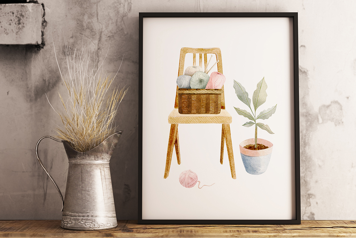 Knitting Watercolor Illustrations Clipart